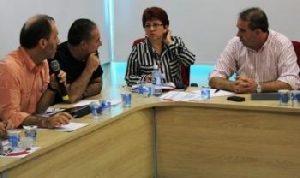 Lúcio, Nobre, Graça e Valeir durante encontro: CUT não aceita negociar representação sindical e direitos conquistados
